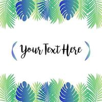 Palm tree leaves background template.Tropical greeting card. vector