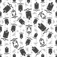 seamless traffic pattern background with black motorcycle and silver dot glitter vector