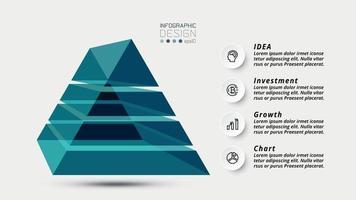 El diseño piramidal en forma de prisma 3D para presentaciones interesantes, se puede utilizar para publicidad, diseño de comunicación o investigación y educación. vector