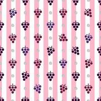 Patrón de uva de brillo rojo y púrpura transparente sobre fondo de rayas