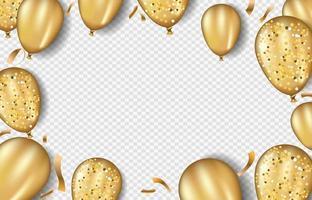 Fondo de globos de oro brillo. confeti de hoja de oro en la ilustración aislada.