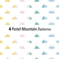 4 pastel mountain patterns vector