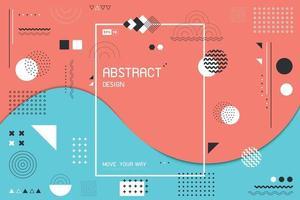 Diseño ondulado abstracto de los colores del cielo y del coral vivo del fondo de la decoración de Memphis con el espacio de la copia. vector de ilustración