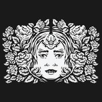 woman head surrounded by rose flowers vector illustration