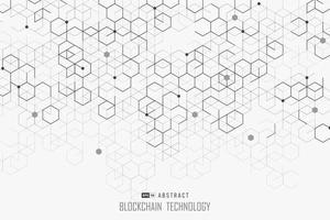 Diseño de tecnología blockchain abstracta de fondo de estilo hexagonal. vector de ilustración