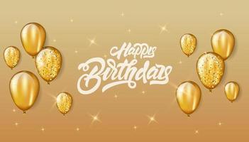 feliz cumpleaños con diseño de celebración de letras para tarjeta de felicitación, póster o pancarta con globo, confeti y degradado. Fondo de globos de oro brillo.