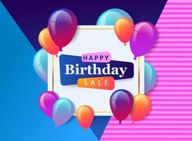 Happy Birthday Sale celebration design for greeting card, poster or banner with balloon, confetti and gradient. vector