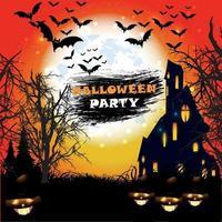feliz halloween con casa embrujada y calabazas y murciélagos