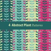 4 abstract plant patterns set vector