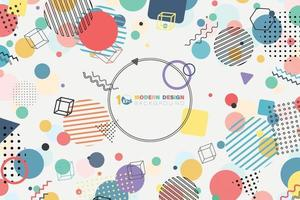 Abstract of modern memphis colorful minimal circle pattern design with copy space of text in center. illustration vector