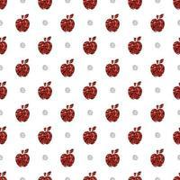 Manzana de brillo rojo transparente con fondo de patrón de puntos plateados