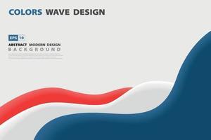 Fondo de plantilla de diseño de negocio ondulado de contraste azul y rojo abstracto. vector de ilustración