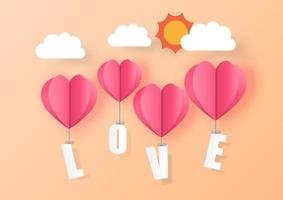 Love for Valentine's day. Heart Balloons on background. Vector illustration.