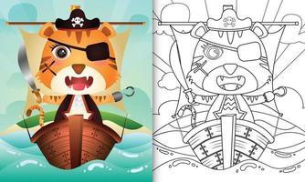 libro para colorear para niños con una linda ilustración de personaje de tigre pirata