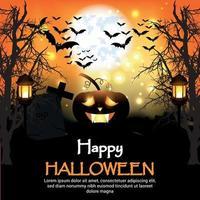 diseño de cartel de fiesta de halloween con calabazas