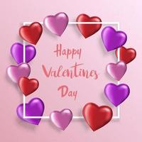 Valentines Day background with realistic heart-shaped balloons. Greeting card, invitation or banner template vector