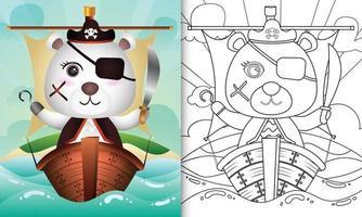 libro para colorear para niños con una linda ilustración de personaje de oso polar pirata vector