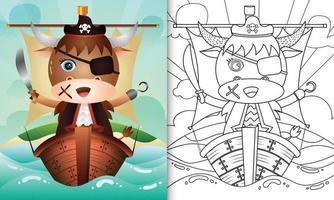 libro para colorear para niños con una linda ilustración de personaje de búfalo pirata