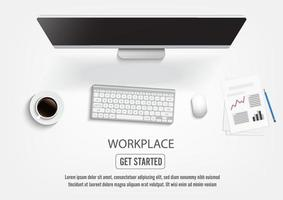 Realistic workplace desktop. Top view desk table, personal computer with keyboard. vector