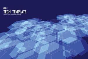 Diseño de patrón hexagonal azul abstracto de plantilla de tecnología. vector de ilustración