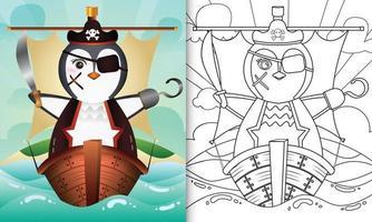 libro para colorear para niños con una linda ilustración de personaje de pingüino pirata vector
