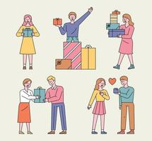 People with gift boxes. People are stacking gift boxes and are happy and giving gifts to loved ones. vector
