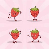 strawberry cute expression set collection. strawberry mascot character vector