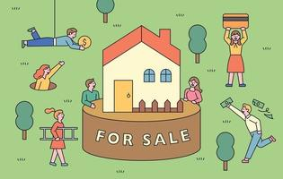 A house for sale. People are gathering to buy the house with money. vector