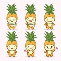 pineapple cute expression set collection. pineapple mascot character vector