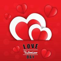 Love for Valentine's day. Happy valentines day and wedding design Paper heart. Vector illustration.