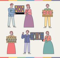 A gift set that Koreans love. People in traditional Korean costumes are showing off gift items.