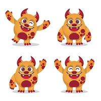 monster mascot expression set collection vector