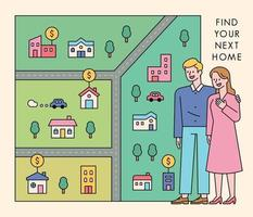 A couple is looking for a house. A couple is standing and a map is spread out to the side. vector