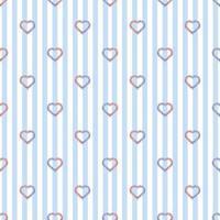 Patrón de día de San Valentín sin costuras sobre fondo de rayas azules con sello de corazón de brillo de dos tonos