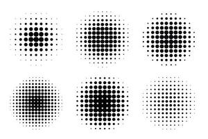 Pop art comic style gradient circle halftone set. Vector isolated on white background