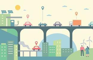 coches en el paso elevado urbano. coches corriendo con energía amigable. vector