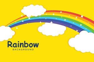 arco iris con plantilla de fondo de nubes vector