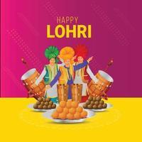 tarjeta de felicitación para la feliz celebración de lohri vector