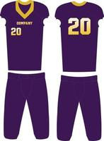 American Football jersey uniforms front and back view vector