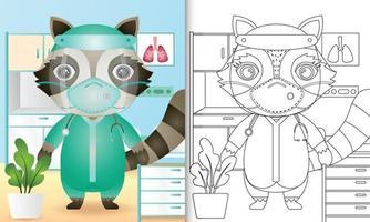 libro para colorear para niños con una linda ilustración de personaje de mapache vector