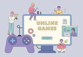 People who enjoy the game. Little people are playing games around large monitors and controllers. vector