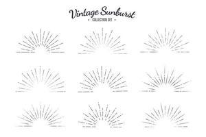 conjunto de colección de vectores vintage sunburst. rayas de diseño gráfico solar retro