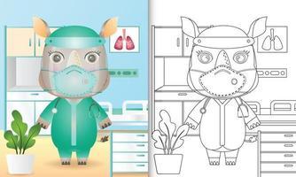 libro para colorear para niños con una linda ilustración de personaje de rinoceronte vector