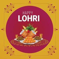 Feliz tarjeta de felicitación de lohri o celebración de banner vector