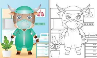 libro para colorear para niños con una linda ilustración de personaje de búfalo vector