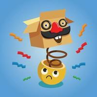 día de los inocentes con jack in the box y carácter emoticon. vector de fondo