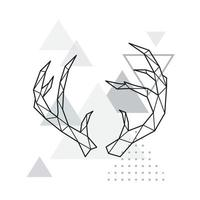 Polygonal Deer horns on minimalist triangle background. vector