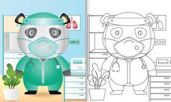 libro para colorear para niños con una linda ilustración de personaje panda vector