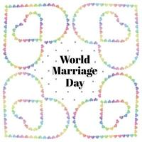 world marriage day card with multicolour heart border vector