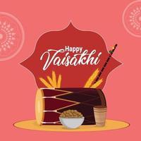feliz celebración vaisakhi tarjeta de felicitación vector